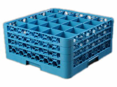Carlisle RG25314 Full-Size Dishwasher Glass Rack - 25-Compartments, 3-Extenders, Blue