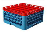Carlisle RG254C410 Full-Size Dishwasher Glass Rack - 25-Compartments, 4-Extenders, Red/Blue