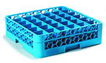 Carlisle RG36-114 Full-Size Dishwasher Glass Rack - 36-Compartments, 1-Extender, Blue