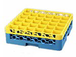 Carlisle RG361C411 Full-Size Dishwasher Glass Rack - 36-Compartments, 1-Extender, Yellow/Blue