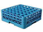Carlisle RG36214 Full-Size Dishwasher Glass Rack - 36-Compartments, 2-Extenders, Blue