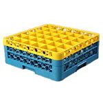 Carlisle RG362C411 Full-Size Dishwasher Glass Rack - 36-Compartments, 2-Extenders, Yellow/Blue