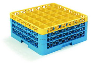 Carlisle RG363C411 Full-Size Dishwasher Glass Rack - 36-Compartments, 3-Extenders, Yellow/Blue