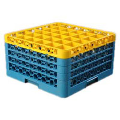 Carlisle RG36-4C411 Full-Size Dishwasher Glass Rack w/ (36) Compartments & (4) Extenders, Blue/Yellow