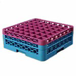 Carlisle RG492C414 Full-Size Dishwasher Glass Rack - 49-Compartments, 2-Extenders, Lavender/Blue