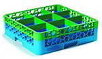 Carlisle RG91C413 Full-Size Dishwasher Glass Rack - 9-Compartments, 1-Extender, Green/Blue