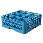 Carlisle RG9-214 Full-Size Dishwasher Glass Rack w/ (9) Compartments & (2) Extenders, Blue