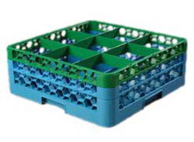 Carlisle RG92C413 Full-Size Dishwasher Glass Rack - 9-Compartments, 2-Extenders, Green/Blue