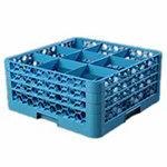 Carlisle RG9314 Full-Size Dishwasher Glass Rack - 9-Compartments, 3-Extenders, Blue
