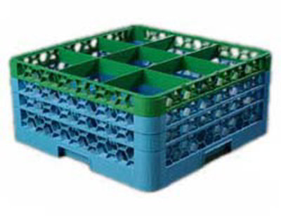 Carlisle RG93C413 Full-Size Dishwasher Glass Rack - 9-Compartments, 3-Extenders, Green/Blue