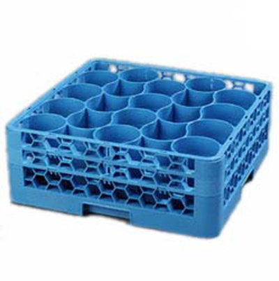 Carlisle RW20114 Full-Size Dishwasher Glass Rack - 20-Rounded Compartments, 2-Extenders, Blue