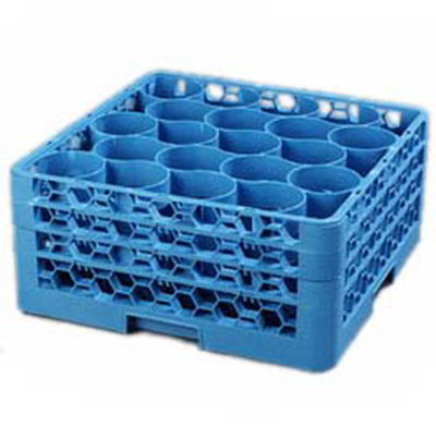 Carlisle RW20-214 Full-Size Dishwasher Glass Rack - 20-Rounded Compartments, 3-Extenders, Blue