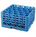 Carlisle RW20314 Full-Size Dishwasher Glass Rack - 20-Rounded Compartments, 4-Extenders, Blue