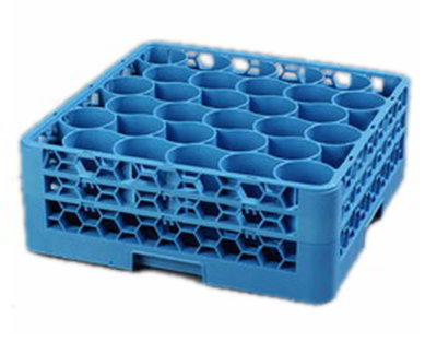 Carlisle RW30114 Full-Size Dishwasher Glass Rack - 30-Rounded Compartments, 2-Extenders, Blue