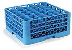 Carlisle RW30214 Full-Size Dishwasher Glass Rack - 30-Rounded Compartments, 3-Extenders, Blue
