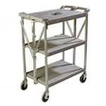 Carlisle SBC152123 3-Level Polymer Utility Cart w/ 350-lb Capacity, Flat Ledges