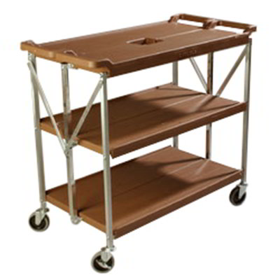 Carlisle SBC203125 Fold 'N Go Cart - 350-lb Capacity, (3)Shelves, Tan