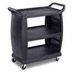 "Carlisle CC203603 36.25""L Polymer Bus Cart w/ (3) Levels, Shelves, Black"