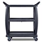 "Carlisle CC203603 36.25""L Polymer Bus Cart w/ (3) Levels, Shelves, Black"