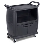 "Carlisle CC2036DP03 36.25""L Polymer Bus Cart w/ (3) Levels, Shelves, Black"