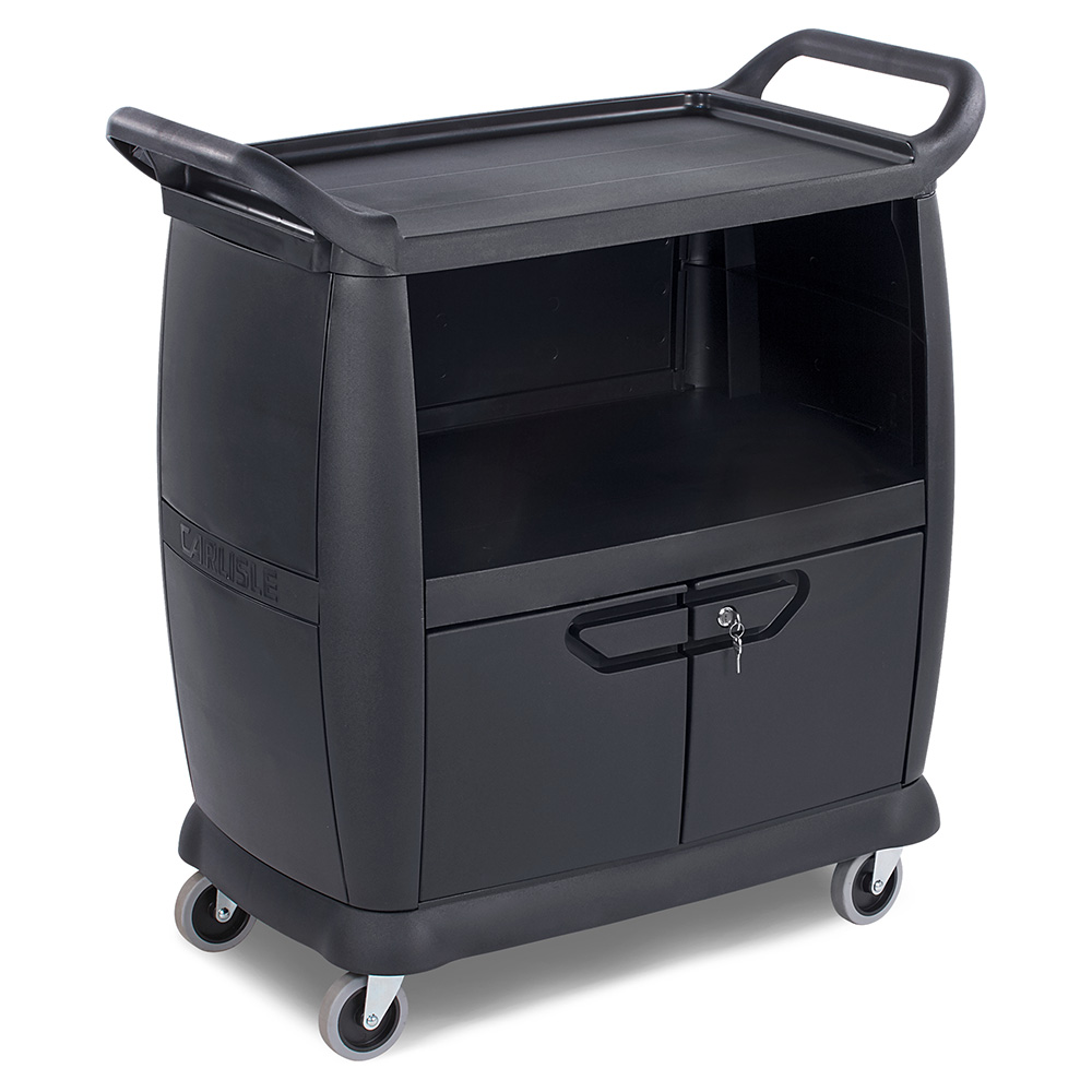 Carlisle CC2036DP03 Bus Cart - 300-lb Capacity, 3-Shelves, Locking Doors, Polypropylene, Black