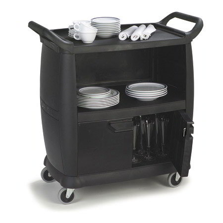Carlisle CC2036P03 Bus Cart - Enclosed, 300-lb Capacity, 3-Textured Shelves, Polypropylene, Black