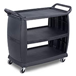 "Carlisle CC224303 42""L Polymer Bus Cart w/ (3) Levels, Shelves, Black"