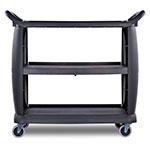"Carlisle CC224303 42""L Polymer Bus Cart w/ (3) Levels, Shelves, Black"