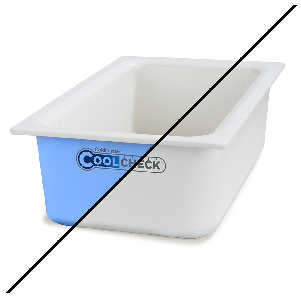 "Carlisle CM1100C1402 Full Size Coldmaster Coolcheck Food Pan, 6"" Deep, 15-qt Capacity, White/Blue"