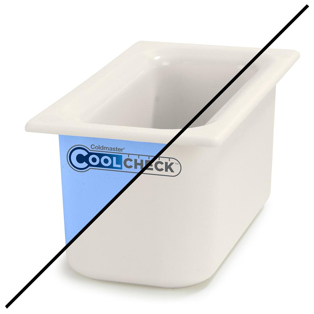 Carlisle CM1102C1402 1/3 Size Coldmaster Coolcheck Food Pan - Plastic, White/Blue