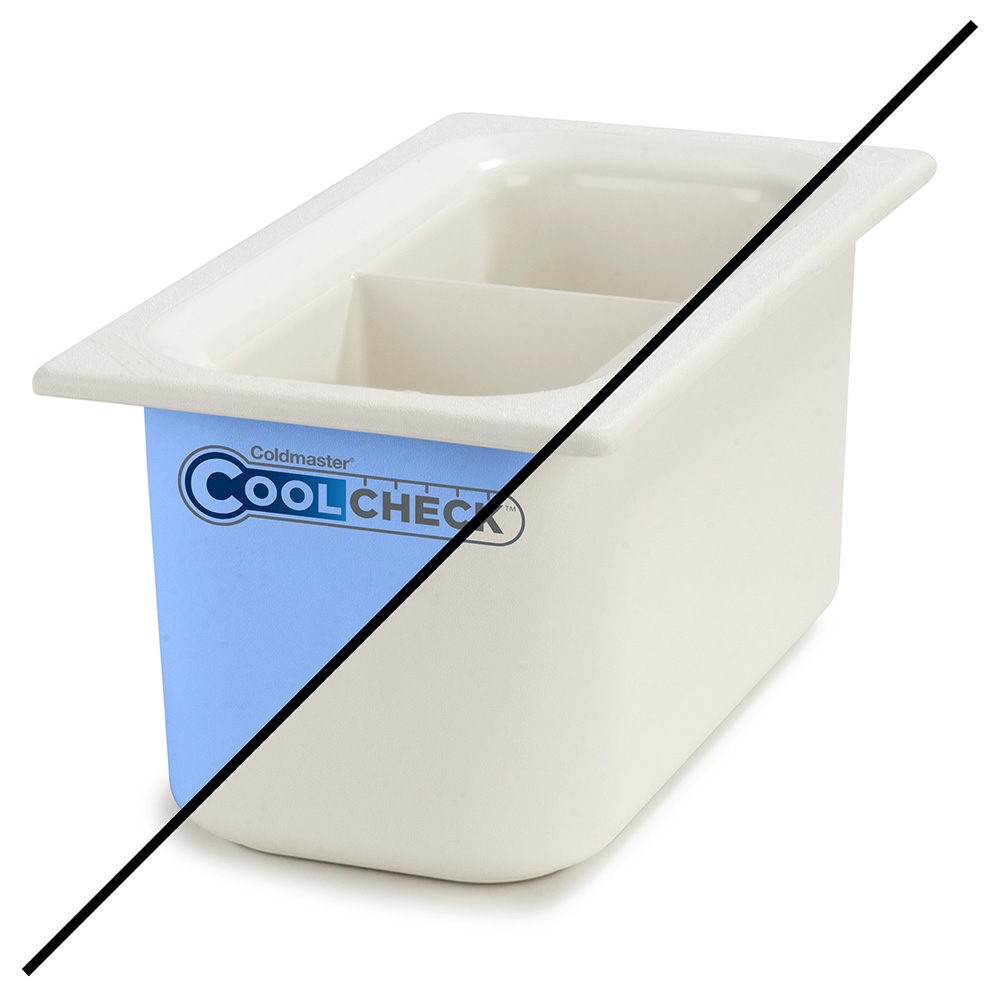 Carlisle CM1103C1402 1/3 Size Coldmaster Coolcheck Food Pan - Plastic, White/Blue