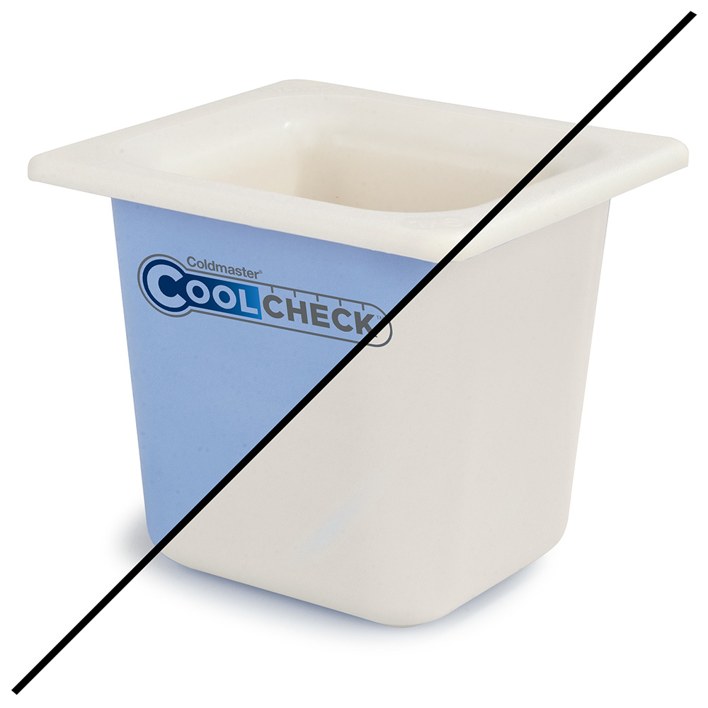 "Carlisle CM1104C1402 1/6 Size Coldmaster Coolcheck Food Pan, 6"" Deep, 1.6-qt Capacity, White/Blue"