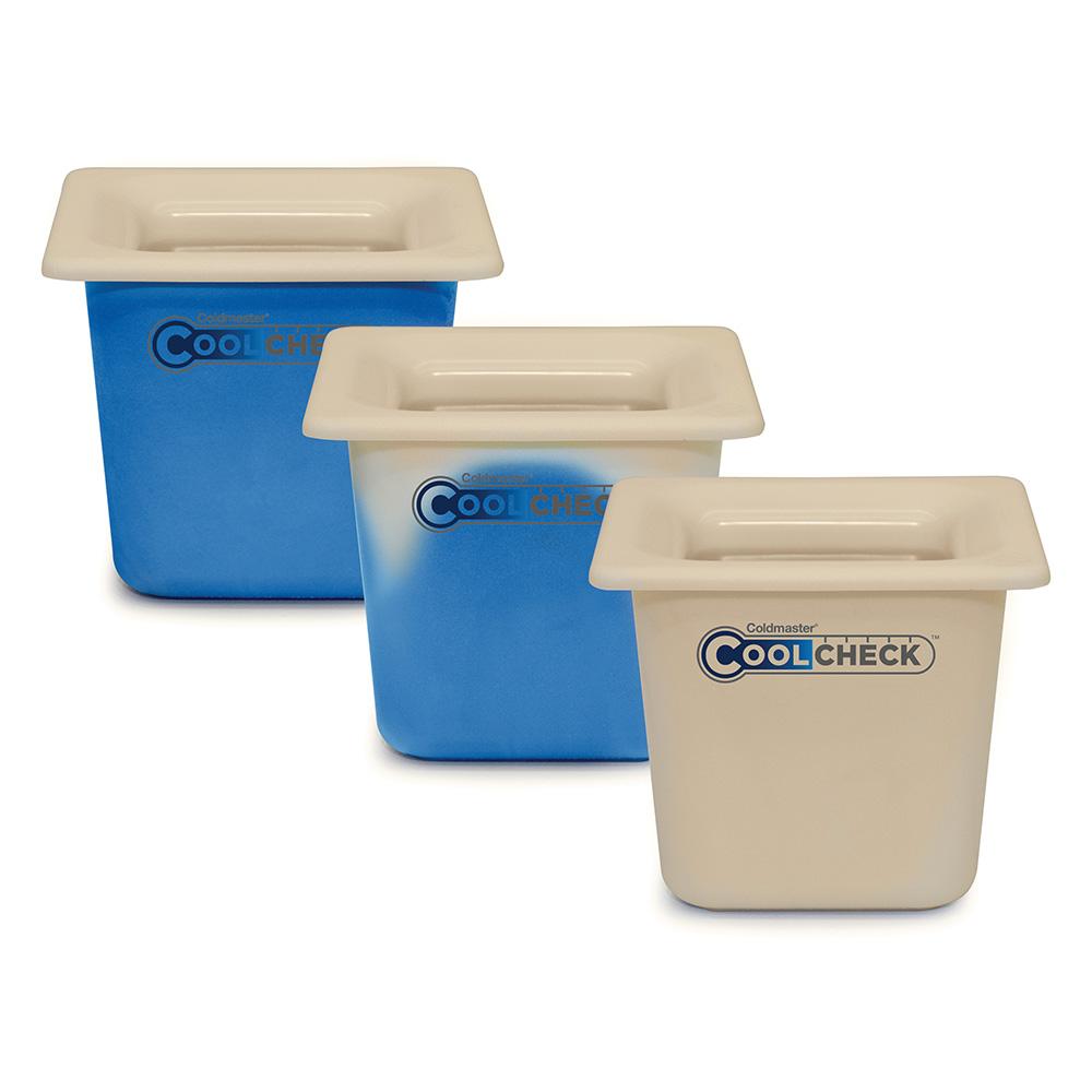 "Carlisle CM1105C1402 1/6 Size Coldmaster Coolcheck Food Pan, 6"" Deep, 1.7-qt Capacity, White/Blue"