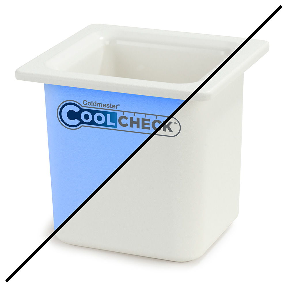 "Carlisle CM1105C1402 1/6 Size Coldmaster Coolcheck Food Pan, 6"" Deep, 1.7-qt Capacity, White/Blue"