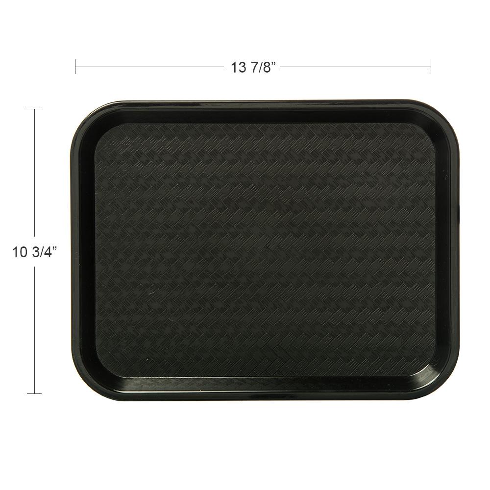 "Carlisle CT101403 Rectangular Cafeteria Tray - 13.875"" x 10.75"", Polypropylene, Black"