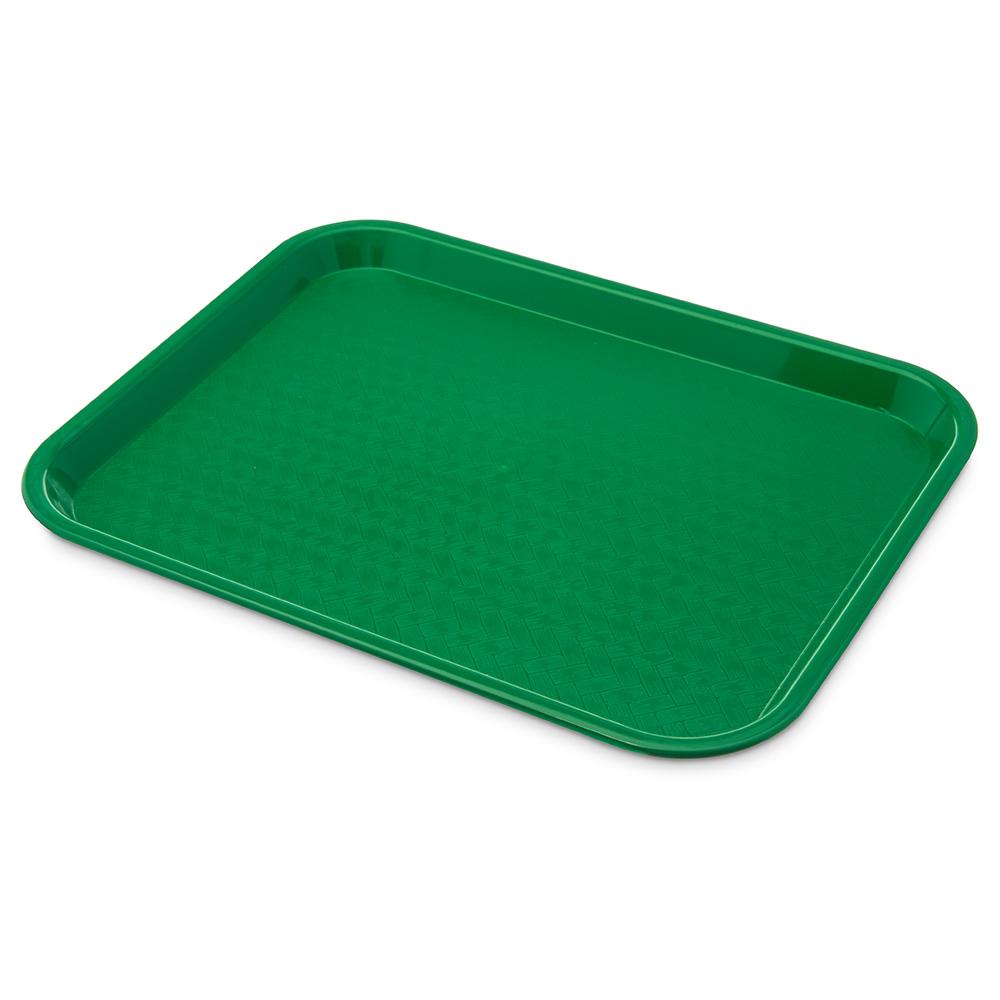 """Carlisle CT101409 Rectangular Cafeteria Tray - 13.875"""" x 10.75"""", Polypropylene, Green"""