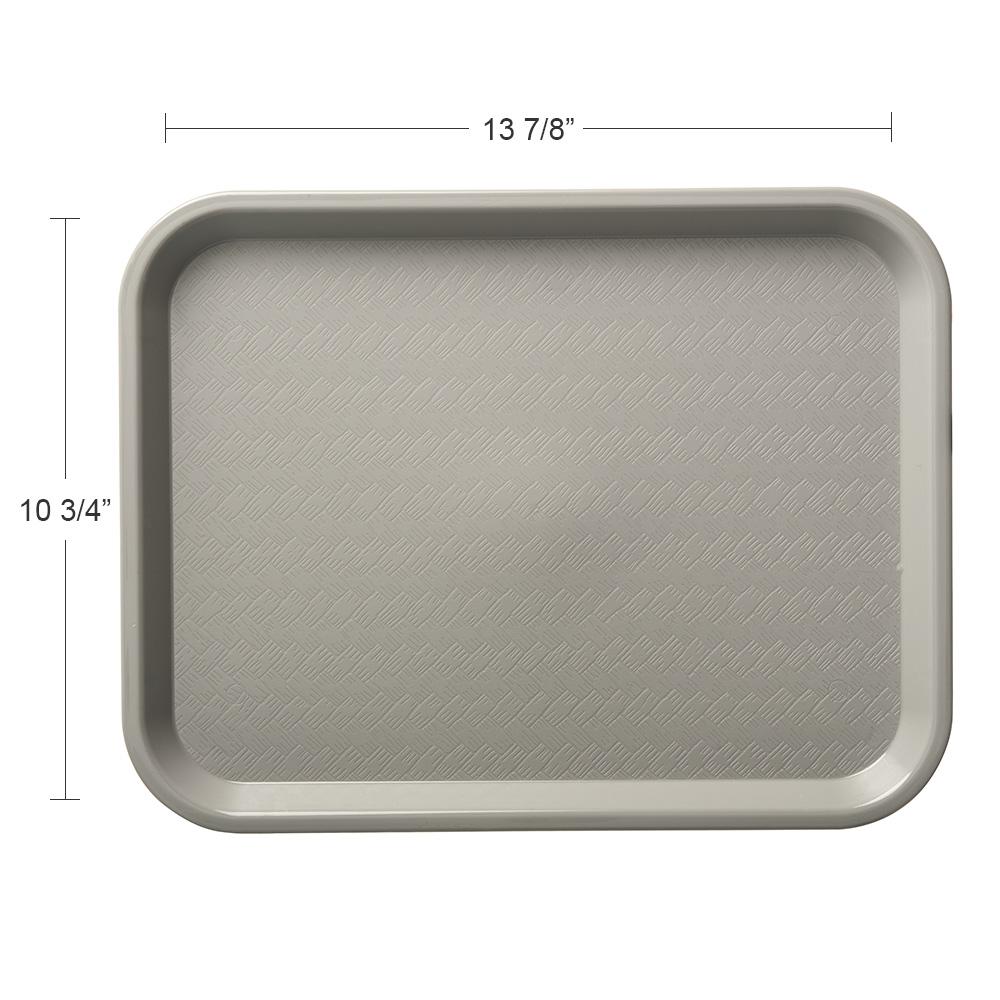 """Carlisle CT101423 Rectangular Cafeteria Tray - 13.875"""" x 10.75"""", Polypropylene, Gray"""