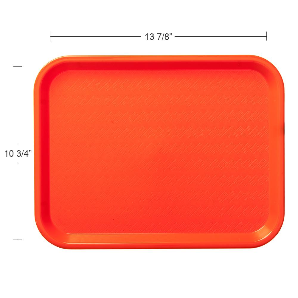 "Carlisle CT101424 Rectangular Cafeteria Tray - 13.875"" x 10.75"", Polypropylene, Orange"