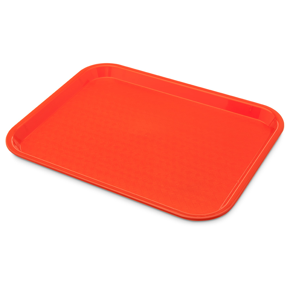 "Carlisle CT101424 Rectangular Cafeteria Tray - 13.875"" x 10.75"", Polypropylene, Orange"