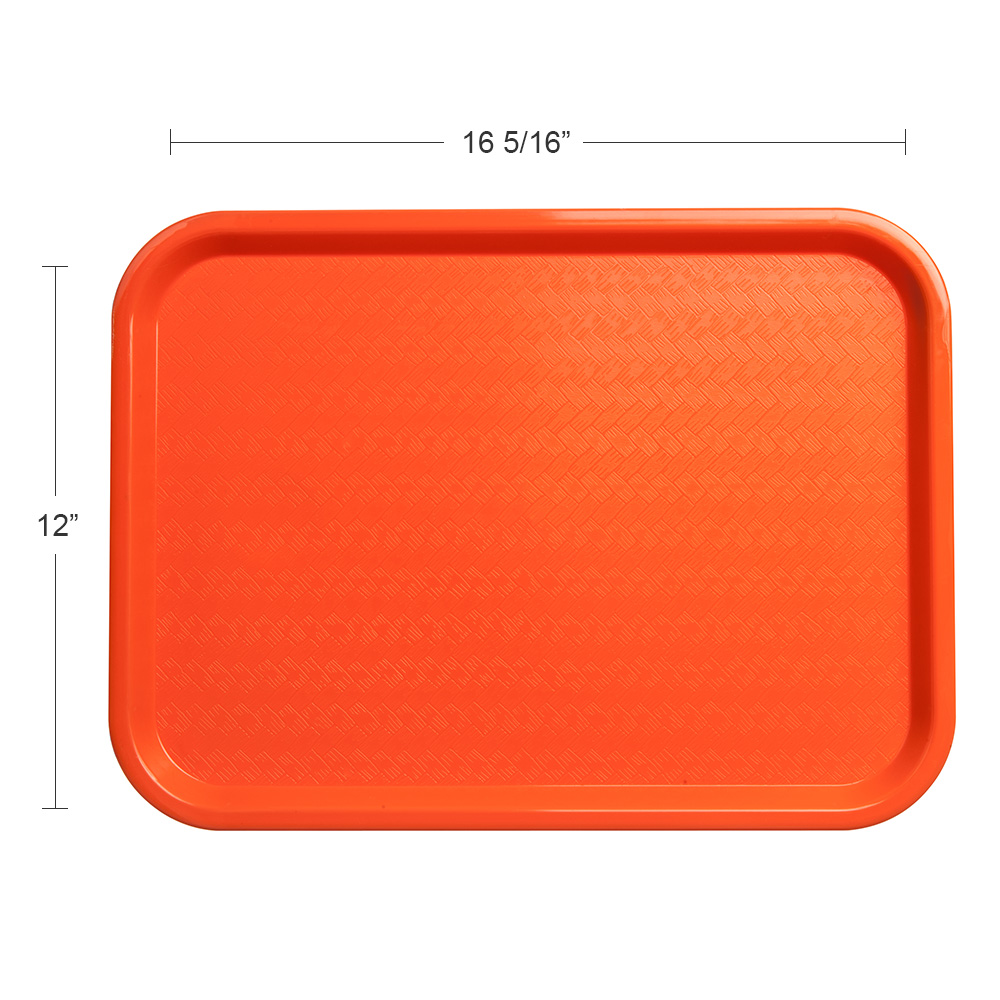 "Carlisle CT121624 Rectangular Cafeteria Tray - 16.3125"" x 12"", Polypropylene, Orange"