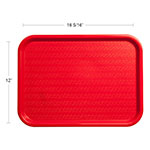 "Carlisle CT121605 Rectangular Cafeteria Tray - 16.3125"" x 12"", Polypropylene, Red"