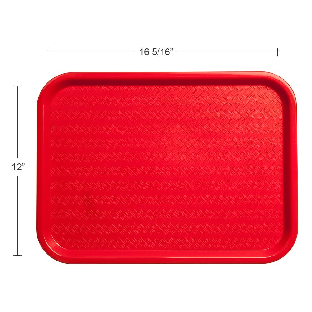 "Carlisle CT121605 Rectangular Cafeteria Tray - 16.3125"" x 12"", Polypropylene, Red"