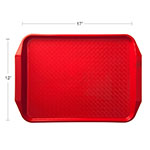 "Carlisle CT121705 Rectangular Cafe Tray - 17"" x 12"", Polypropylene, Red"