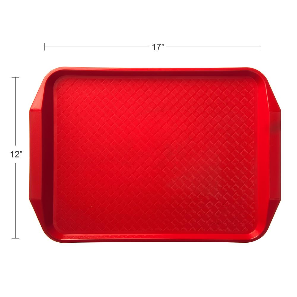"Carlisle CT121705 Rectangular Cafe Tray - 17"" x 12"", Polypropylene, Red"