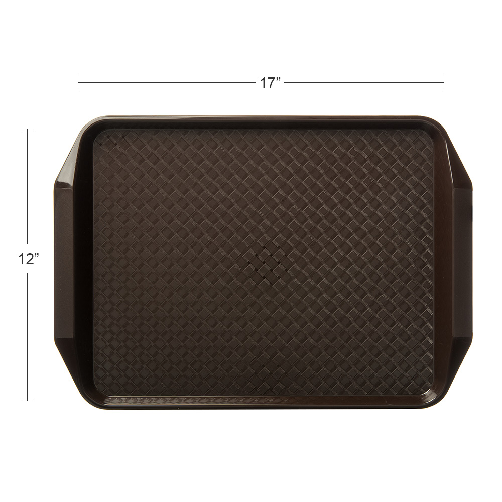 "Carlisle CT121769 Rectangular Cafe Tray - 17"" x 12"", Polypropylene, Chocolate"