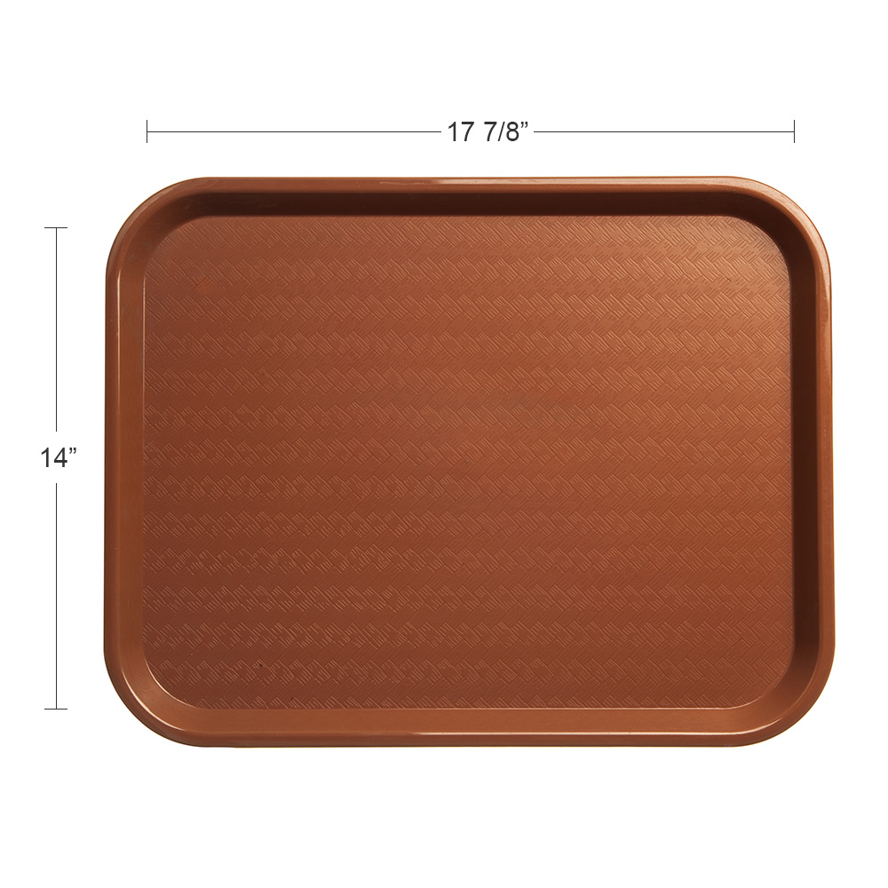 "Carlisle CT141831 Rectangular Cafe Tray - 17.875"" x14"", Polypropylene, Light Brown"