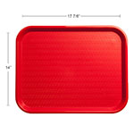 "Carlisle CT141805 Rectangular Cafe Tray - 17.875"" x14"", Polypropylene, Red"