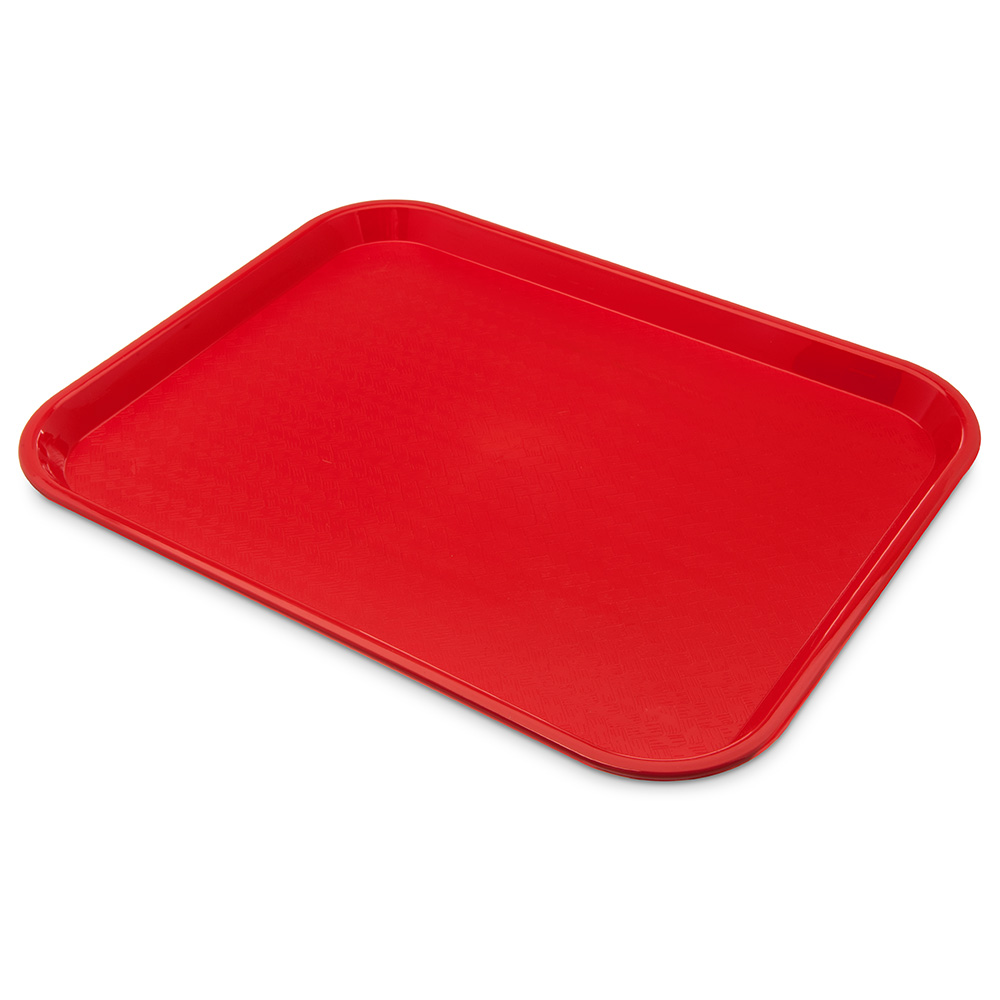 "Carlisle CT141805 Rectangular Cafe Tray - 17.875"" x14"", Polypropylene, Red"