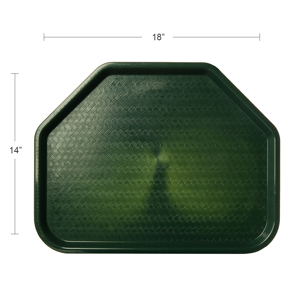 """Carlisle CT1713TR08 Trapezoid Cafe Tray - 18"""" x 14"""", Polypropylene, Forest Green"""