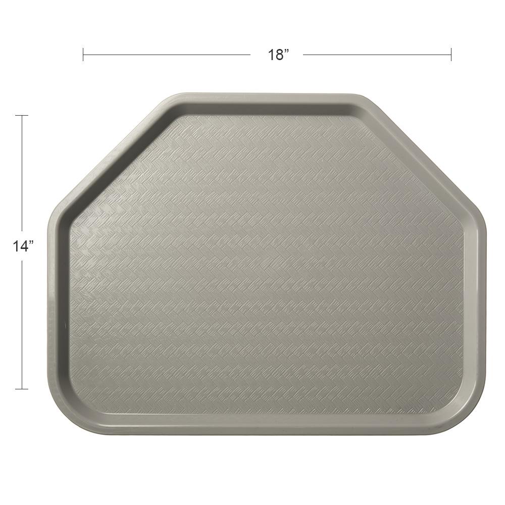 "Carlisle CT1713TR23 Trapezoid Cafe Tray - 18"" x 14"", Polypropylene, Gray"